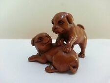 "1940's Japanese Master handmade Boxwood Netsuke""two cute Dog""Figurine Carving"