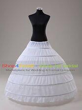 White/Black 6-HOOP Ball Gown Bridal Wedding Full Crinoline Petticoat Slips