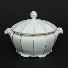 VTG Porcelain Soup Tureen Haas & Czjzek Schlaggenwald 1792 Gold White Art Deco