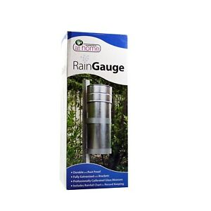 Metal Rain Gauge Galvanised Rustproof Calibrated Glass Measure Garden Yard