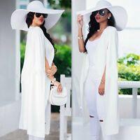 Fashion Women Lady Long Cloak Cape Blazer Suit Jacket Coat Trench Poncho Outwear