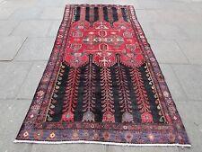 Tradicional Old shabby chic hecha a mano de lana persa Rojo Alfombra Oriental 300x147cm