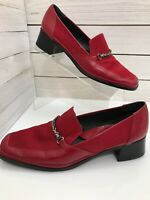 Rangoni Firenze Womens Size 9.5 Loafers Red Leather Suede Accents Chain Italy