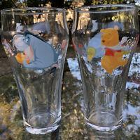 Libbey Disney Winnie the Pooh Eeyore Sweets Drinking Glasses Cups Glass Rare EUC