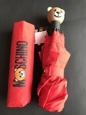 NWT Moschino Bear Retractable Umbrella In Red Color With UV Protection
