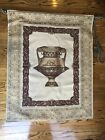 """Wall Tapestry 47"""" Wooden Rod Classical Urn Lioness Puma Burgundy Red Beige Gray"""