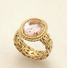 S 7 Technibond Pink Sapphire Gemstone Byzantine Ring 14K Yellow Gold Clad Silver
