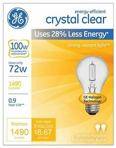 4-pack GE Lighting 78798 Energy-Efficient Crystal Clear A19 Halogen Bulb, 72W,