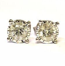 14k white gold 1.40ct round diamond I3 K stud earrings 2g vintage estate ladies