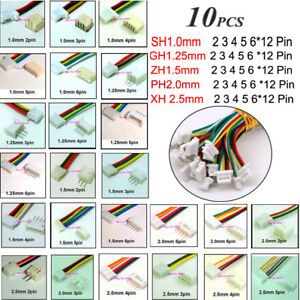 10X JST 2-12Pin SH 1.0 ZH1.5 PH 2.0 XH 2.5 Connector Plug Male &Female With Wire