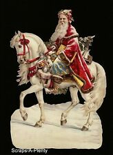 German Embossed Scrap Die Cut -Large Christmas Santa Riding A Horse WOW   BK5124
