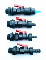 """3/4"""" BSP Tank Adapter with in-line ball valve to  Barbed Hose Tail (4 Sizes)."""