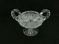 Cut Glass/Crystal Double Handle Hobstar Footed Open Sugar Bowl