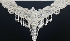 New Hand Made Sequins Pearls Lace In Ivory Dress Collar Design Accent Piece