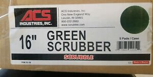"""ACS 16"""" Green Scrubbing Floor Buffer Pads Box of 5 New Old Stock (free shipping)"""