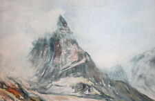 1982 Watercolor drawing mountain landscape signed