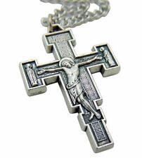 """Renaissance Crucifix Metal Pendant 1 1/2"""" w/ Stainless Steel Chain from Italy"""