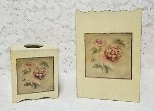 Croscill Cheri Blum Antique Rose 2 Piece Matching Tissue Box Cover Trash Can Set
