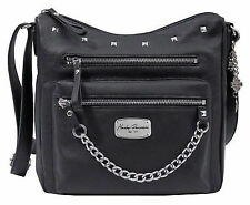 Harley-Davidson Women's Chain Gang Studded Black Leather Hobo Purse Bag Cg2377l