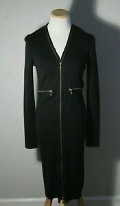 Yves Saint Laurent Black Knit Zipper Long Sleeve Dress Made in Italy