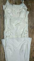 VTG FULL SLIPS (3) Ivory Cream Nylon Lace Adjustable VANITY FAIR LEGGS Sz 36