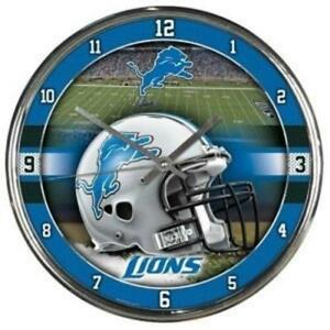 Detroit Lions Chrome Round Wall Clock [NEW] NFL Sign Banner Office Cave