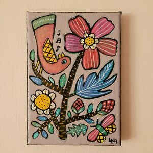 Folk Art ORIGINAL Floral Flower Leaf Stem Botanical Canvas Paint Bird Gem Tree