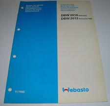 Ersatzteilliste Webasto Standheizung DBW 2010 Sensoric 2012 TRS Stand 11/1992!