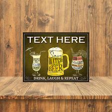 PERSONALISED DRINK LAUGH REPEAT METAL RETRO SIGN PUB MAN CAVE TAVERN (34PER)