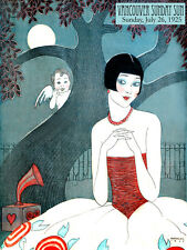 """20x30""""Decor Canvas.Design Art Nouveau.Deco girl,angel listen phonograph.6394"""