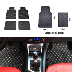 4X Non-Slip Car Floor Mat Black PU Leather Clear Foot Pads All Weather Rugs Set