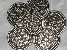 CHANEL 6 CC LOGO SILVER METAL  BUTTONS 18  MM/ 3/4''   NEW LOT 6