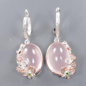 Handmade SET Rose Quartz Earrings Silver 925 Sterling   /E57428