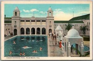 "Vintage 1920s PALM BEACH Florida Postcard ""CASINO SWIMMING POOL"" Curteich Unused"