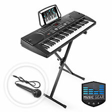 61 Key Electronic Piano Electric Organ Keyboard with Stand   Microphone - Black