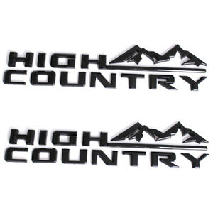 2x Glossy Black ABS High Country L&R Fender Badge Decal for Chevrolet Silverado