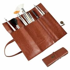 Brown Roll Up Leather Beauty Makeup Cosmetic Pencil Case Bag Makeup Brush Holder
