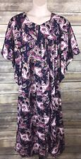 NEW Go Softly Patio House Dress Robe Paisley Floral Indigo Rose Gold Victorian M