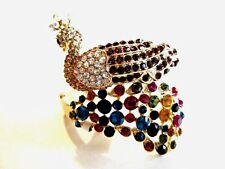 Gold Tone Peacock Bangle Cuff Bracelet Multi Colored Stones New With Tag