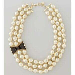 Kate Spade New York Black Tie Optional Pearl Statement Necklace MSRP $278
