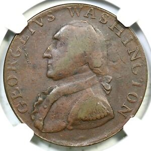 (1795) GW-51 NGC XF 45 Plain Edge Washington North Wales Half Penny 1/2p