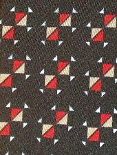 ITALO FERRETTI ~ VINTAGE GEOMETRIC ~ SILK DRESS SHIRT TIE ~ BLACK ~ RED ~ TAN