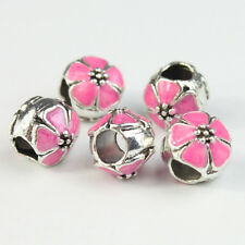 5pcs Lots Colour Enamel Flower Silver Big Hole Charm Beads for European Bracelet