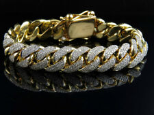 Mens Solid 10k Yellow Gold Miami Cuban Link 14 Mm Diamond Bracelet 10.5 Ct