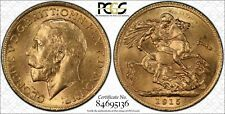 1915 Great Britain 8 Grams Gold Full Sovereign Coin Pcgs Ms 62 Variety S 3996