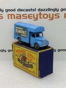 MATCHBOX LESNEY No.17a Bedford Removals Van 1955 blue Original vintage diecast