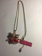 Betsey Johnson Crystal Red Enamel Double Pig Pendant Sweater Necklace-BJ305