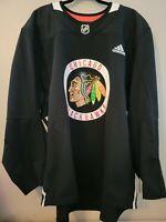Adidas NHL Authentic Chicago Blackhawks Practice Jersey Black Men's Size 56