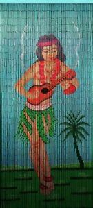 Natural Bamboo Beaded Curtain Hula Dancer Beads Window Doors Room Divider Screen