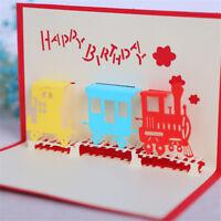 3D Train Greeting Card Pop Up Paper Cut Postcard Birthday Valentines Party Fs